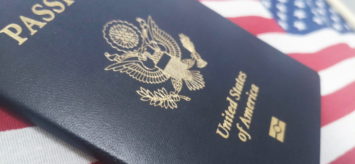 U.S.A. Passport and Flag Featured